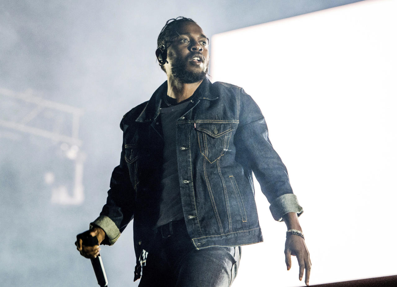 FILE - In this July 7, 2017 file photo, Kendrick Lamar performs during the Festival d'ete de Quebec in Quebec City, Canada. Lamar is the leader of the MTV Video Music Awards with eight nominations. The 2017 VMAs will air live Aug. 27 from the Forum in Inglewood, Calif. (Photo by Amy Harris/Invision/AP, File)