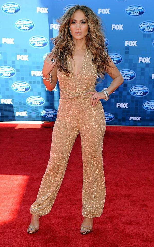 "Last, but certainly not least ... diva extraordinaire Jennifer Lopez, who turned heads in a crystal-encrusted Michael Kors jumpsuit and Gucci heels at Fox's ""American Idol"" Season 10 finale. And that hair ... to die for!   Follow 2 Hot 2 Handle creator, <a href=""http://bit.ly/lifeontheMlist"" target=""new"">Matt Whitfield</a>, on Twitter! Frazer Harrison/<a href=""http://www.gettyimages.com/"" target=""new"">GettyImages.com</a> - May 25, 2011"
