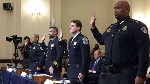 PHOTO: From left, officers Sgt. Aquilino Gonell, Michael Fanone, Daniel Hodges and Harry Dunn, are sworn in to testify before the House Select Committee investigating the January 6 attack on U.S. Capitol on July 27, 2021, in Washington, D.C. (Jim Lo Scalzo/Pool via Getty Images)