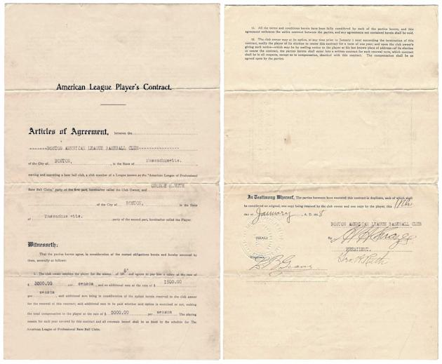 Babe Ruth contract (Goldin Auctions)