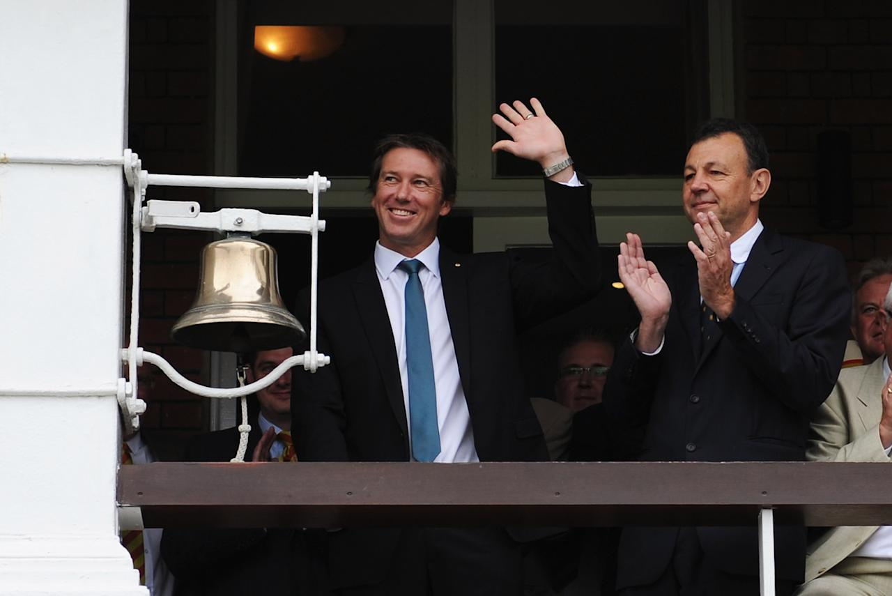 LONDON, ENGLAND - JULY 21:  Former Australian fast bowler Glenn McGrath rings the Lord's bell prior to day four of the 2nd Investec Ashes Test match between England and Australia at Lord's Cricket Ground on July 21, 2013 in London, England.  (Photo by Gareth Copley/Getty Images)