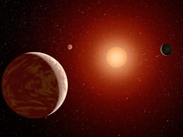 Red dwarf star with planets