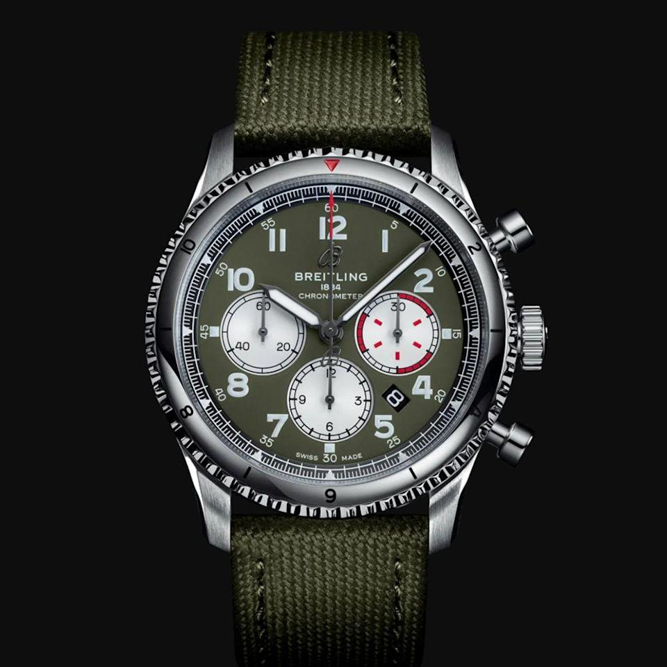 "<p><a class=""link rapid-noclick-resp"" href=""https://www.breitling.com/us-en/watches/aviator-8/b01-chronograph-43/AB01192A1L1/"" rel=""nofollow noopener"" target=""_blank"" data-ylk=""slk:BUY IT HERE"">BUY IT HERE</a></p><p>While a Breitling watch carries a hefty dose of flash, they are made for action. Originally designed to function for aviation, ocean navigation, and industrial and military purposes, today these watches are best suited for the modern day adventurer. Best of all, switching out straps is a breeze. You can do it by yourself in a few simple minutes and have an almost entirely new watch.</p>"