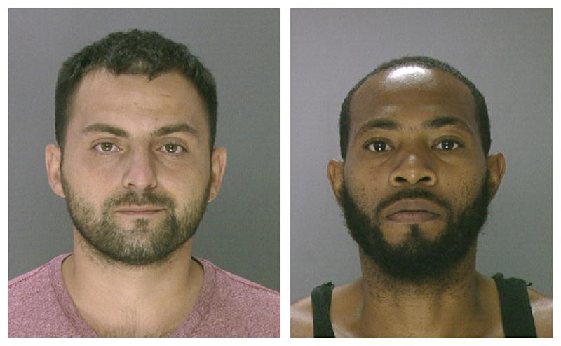 In these undated photos provided by the Philadelphia Police Department, Khusen Akhmedov, 23, left, of Lancaster, and Ahmen Holloman, 30, of Philadelphia, are shown. Akhmedov and Holloman, who were arrested Wednesday, July 17, 2013, are facing third-degree murder, involuntary manslaughter and other charges in a Tuesday crash that killed a mother and three young sons crossing a 12-lane highway plagued by pedestrian deaths, police said. A fourth son was injured. (AP Photo/Philadelphia Police Department)