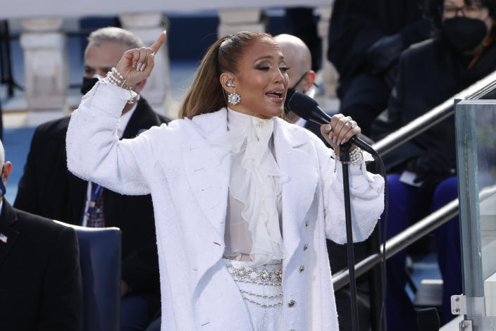 Jennifer Lopez performs during the inauguration of Joe Biden as the 46th President of the United States. (Brendan McDermid/Reuters)