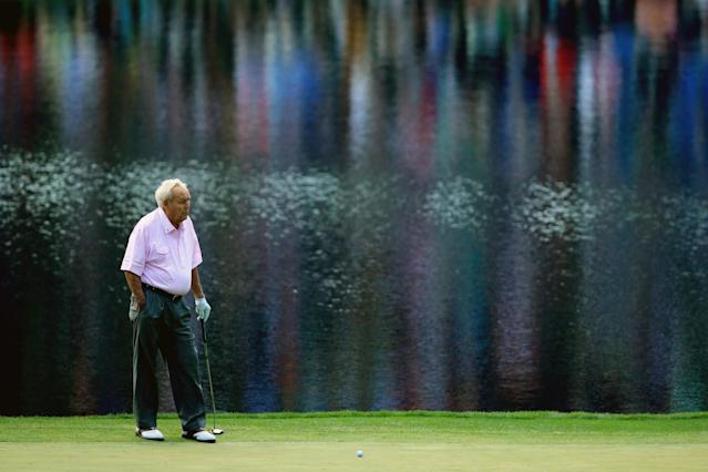 <p>Arnold Palmer waits on a green during the 2014 Par 3 Contest prior to the start of the 2014 Masters Tournament at Augusta National Golf Club on April 9, 2014 in Augusta, Georgia. (Photo by David Cannon/Getty Images) </p>