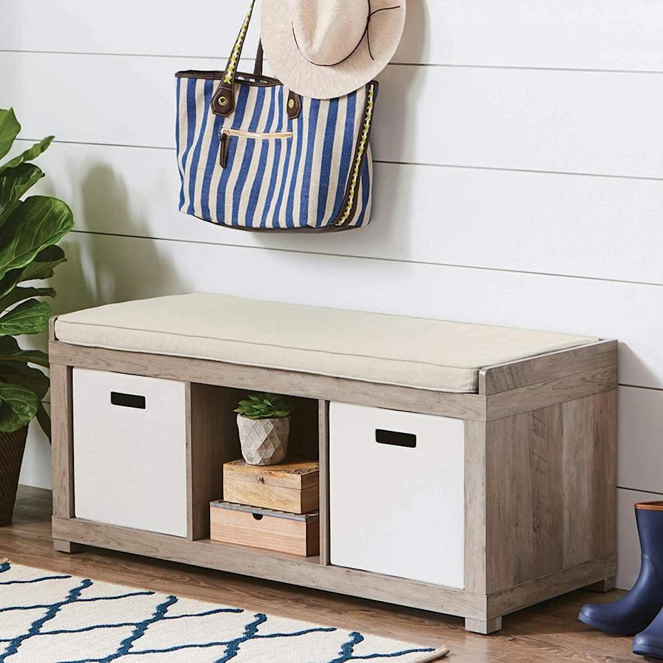<p>Being able to put bins in this <span>3-Cube Organizer Storage Bench</span> ($103) makes it so useful.</p>