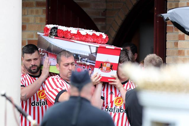 <p>The coffin of Bradley Lowery leaves St Joseph's Church in Blackhall, County Durham following the funeral the six-year-old football mascot whose cancer battle captured hearts around the world </p>