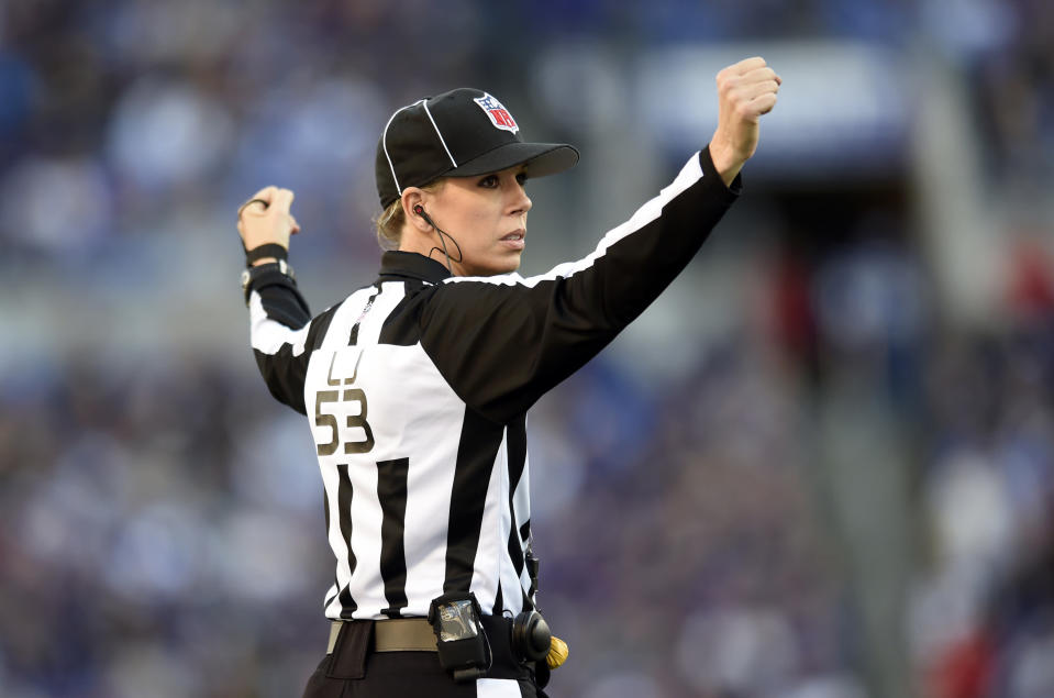 FILE – In 2015, NFL official Sarah Thomas made history as the first female to be a full-time game official in the NFL. (Photo Credit: AP Photo/Gail Burton, file)
