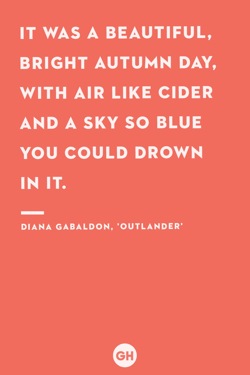 <p>It was a beautiful, bright autumn day, with air like cider and a sky so blue you could drown in it.</p>