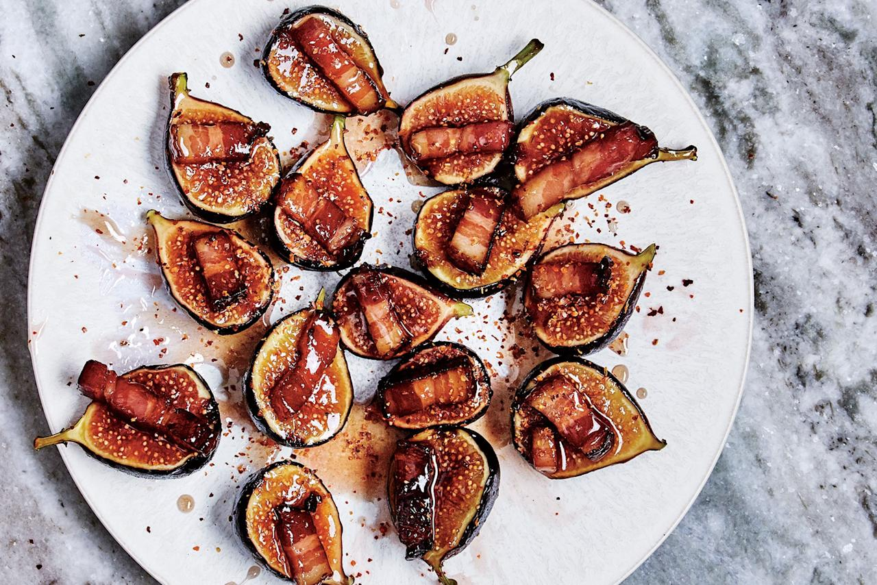 "This recipe for maple-glazed figs with crispy bacon gives you a one-bite appetizer that's sweet, salty, sticky, and bright. You can pull the whole thing together in less than half an hour. <a href=""https://www.epicurious.com/recipes/food/views/figs-with-bacon-and-chile?mbid=synd_yahoo_rss"">See recipe.</a>"