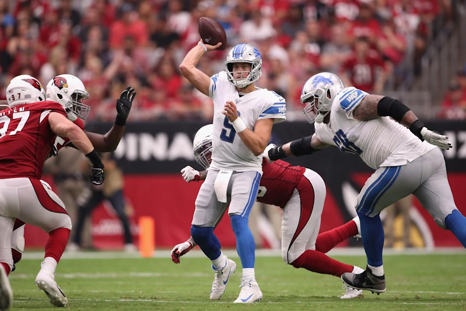 Quarterback Matthew Stafford almost threw an overtime interception that would have lost Sunday's game. (Getty Images)