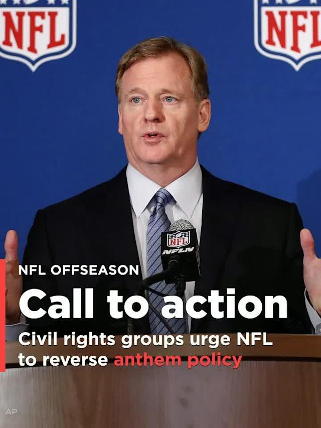 Some of the nation's most prominent civil rights groups have sent a letter to NFL commissioner Roger Goodell urging him to change the league's new policy requiring players who are on the field to stand at attention for the national anthem.