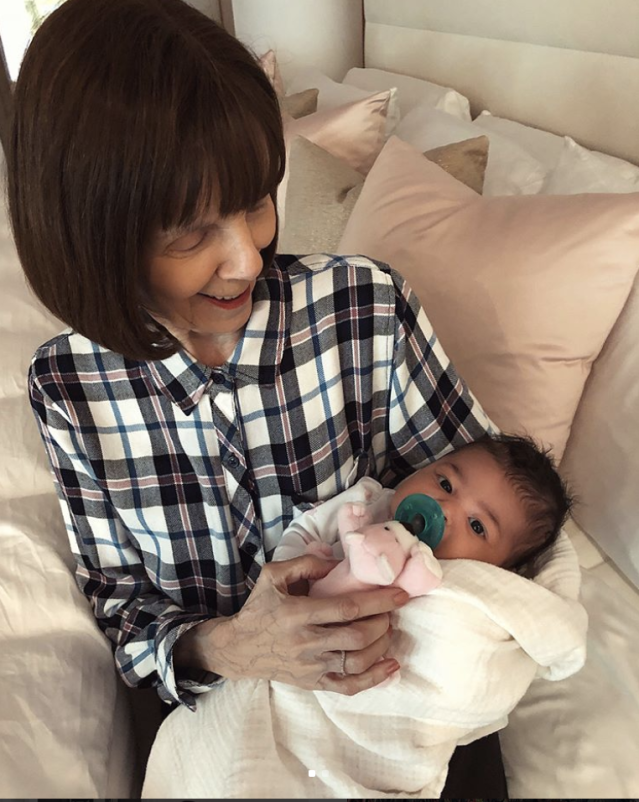 "<p>The beauty mogul posted this shot of her baby girl, Stormi, in the arms of Kris Jenner's mom MJ Shannon. ""I mean.. does it get any better than this?"" she wrote, as the grandma smiled down at her newest great-grandchild. (Photo: <a href=""https://www.instagram.com/p/BgNhHjWFj5m/?taken-by=kyliejenner"" rel=""nofollow noopener"" target=""_blank"" data-ylk=""slk:Kylie Jenner via Instagram"" class=""link rapid-noclick-resp"">Kylie Jenner via Instagram</a>) </p>"