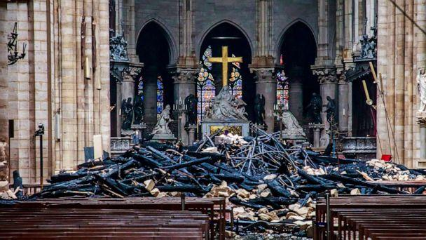 PHOTO: A view of the debris inside Notre-Dame de Paris in the aftermath of a fire that devastated the cathedral in Paris, April 16, 2019. (Christophe Petit Tesson/Pool via Reuters)