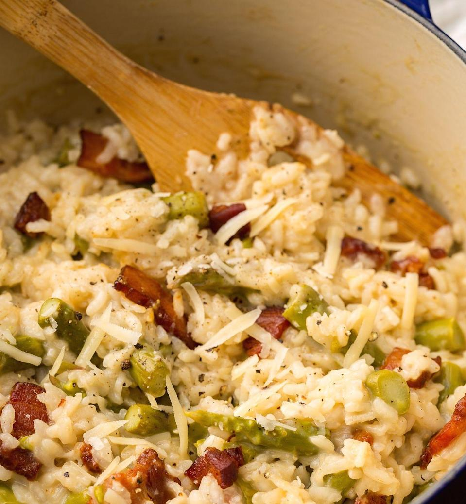 """<p>Prepare for love at first bite.</p><p>Get the <a href=""""https://www.delish.com/uk/cooking/recipes/a29982406/creamy-asparagus-bacon-risotto-recipe/"""" rel=""""nofollow noopener"""" target=""""_blank"""" data-ylk=""""slk:Creamy Asparagus And Bacon Risotto"""" class=""""link rapid-noclick-resp"""">Creamy Asparagus And Bacon Risotto</a> recipe. </p>"""