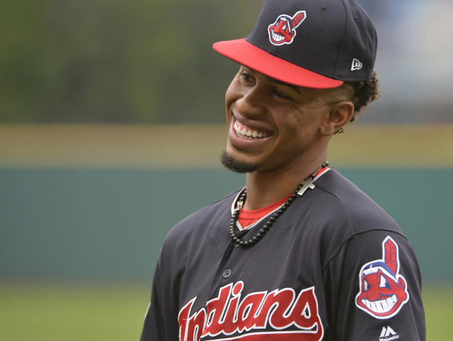 Cleveland Indians' Francisco Lindor jokes around before Game 2 of baseball's American League Division Series against the New York Yankees. (AP Photo/Phil Long)