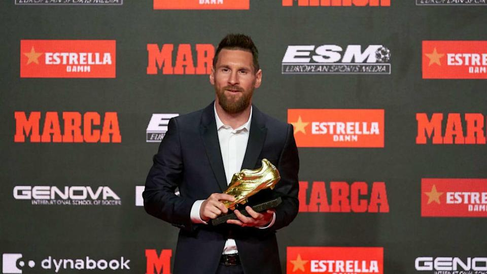 Lionel Messi receiving Golden Shoe award | Quality Sport Images/Getty Images