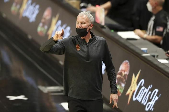 Southern California head coach Andy Enfield reacts to a call during the second half of an NCAA college.