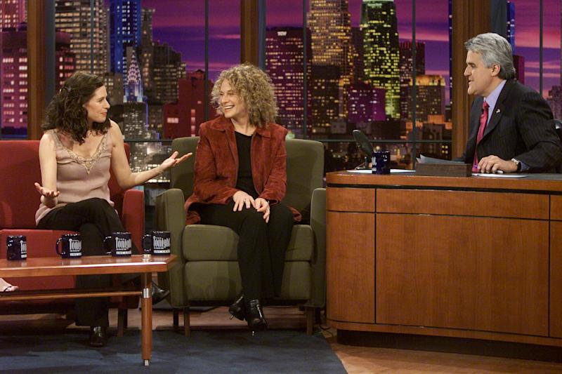 Louise Goffin and Carole King on 'The Tonight show with Jay Leno, in 2002 (Photo: Paul Drinkwater/NBC/NBCU Photo Bank)