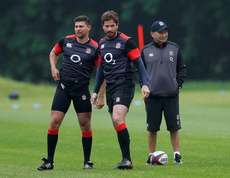 FILE PHOTO - Rugby Union - England Training - Pennyhill Park, Bagshot, Britain - May 24, 2018 England's Ben Youngs, Danny Cipriani and head coach Eddie Jones during training Action Images via Reuters/Andrew Couldridge
