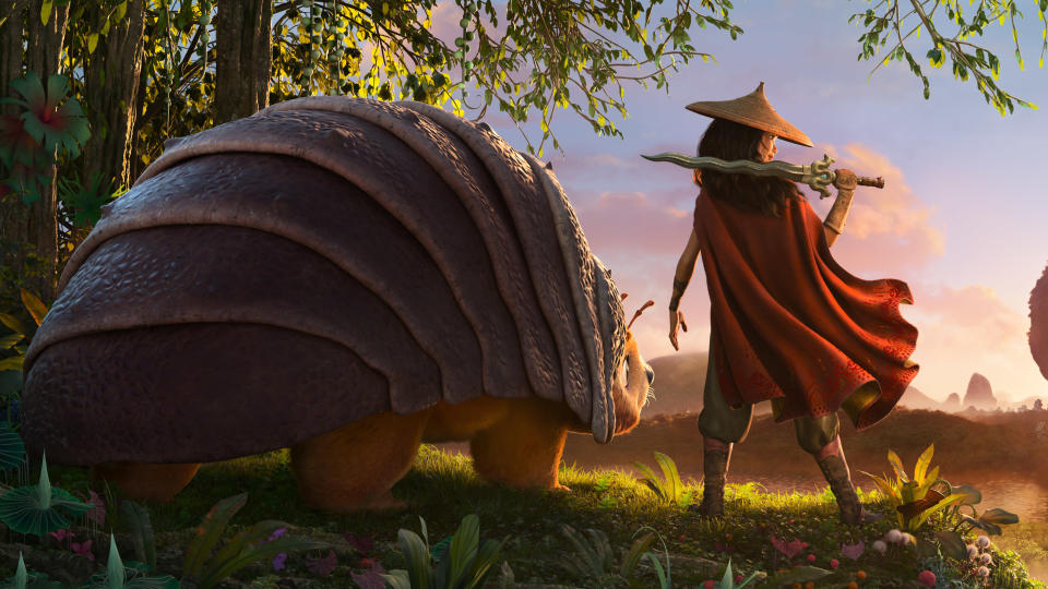 Disney hasn't made an original animated movie since 2016's <em>Moana</em>, but they're back at the crease for <em>Raya and the Last Dragon</em>. Kelly Marie Tran voices the fearless protagonist, with Awkwafina lending her vocals to the mythical fire-breather — the last remaining example of her species. (Credit: Disney)