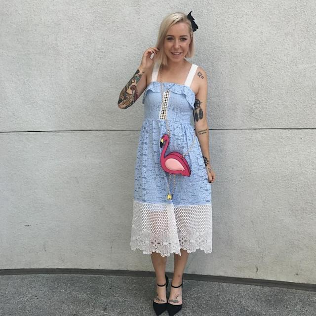 "Leslie Kay, the woman behind the DisneyBound Tumblr, showing off her Alice from ""Alice in Wonderland"" Disneybound."