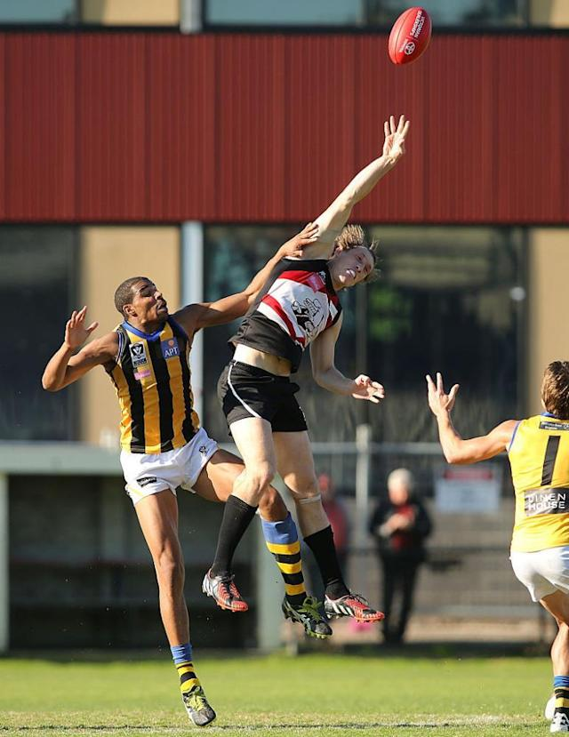 """<span class=""""element-image__caption"""">Frankston ruckman Kalem Post beats St Kilda and Sandringham player Jason Holmes to the ball during the 2015 VFL season.</span> <span class=""""element-image__credit"""">Photograph: Pat Scala/AFL Media/Getty Images</span>"""