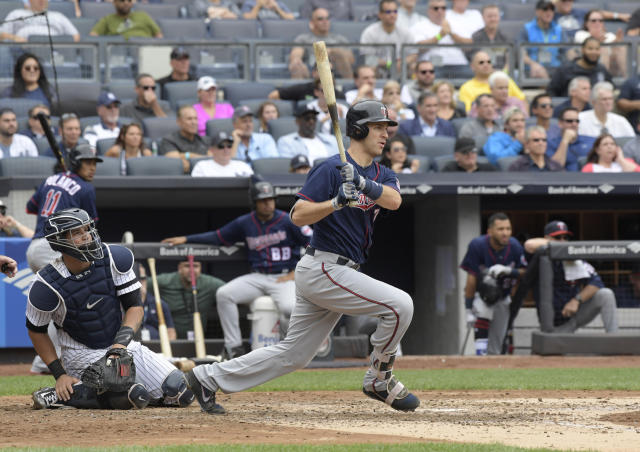 Minnesota Twins' Joe Mauer collected his 400th career double Thursday night in Detroit. (AP Photo/Bill Kostroun)