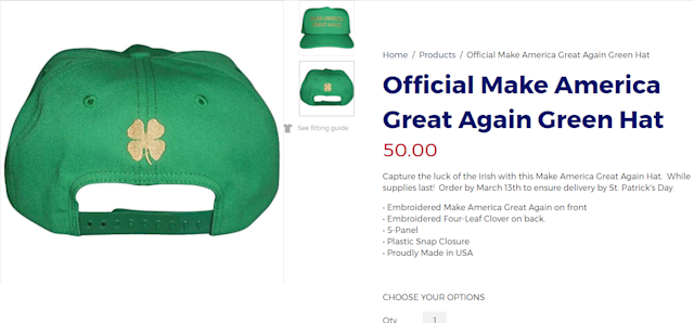 Wrong clover for Trump cap
