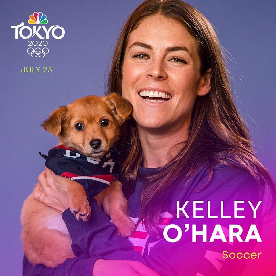 """<p><a href=""""https://www.teamusa.org/us-soccer/athletes/Kelley-OHara"""" rel=""""nofollow noopener"""" target=""""_blank"""" data-ylk=""""slk:O'Hara"""" class=""""link rapid-noclick-resp"""">O'Hara</a>, currently a defender for the Washington Spirit, is a two-time FIFA Women's World Cup champion and Olympic gold medalist. The soccer star won gold with the U.S. Women's Soccer Team at the 2012 London Olympics. </p>"""