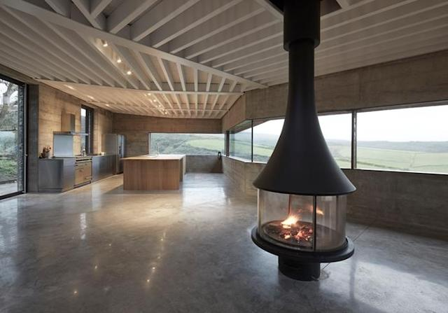 "The huge concrete building has exposed polished floors and is heated via a ""lake sourced heat pump"" (Picture: Edward Sumner)"