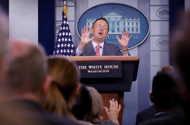 Mick Mulvaney, Donald Trump's acting chief of staff, at a press conference at the White House: Getty Images