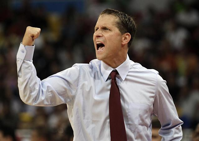 FILE - In this July 3, 2012, file photo, Venezuela's coach Eric Musselman, from the U.S., gestures during an Olympic qualifier basketball game against Lithuania in Caracas, Venezuela. Musselman, a former NBA coach, recently interviewed for the head coach opening at California, a person with knowledge of the process said. The person spoke on condition of anonymity Saturday, April 12, 2014, because the school hasn't released details of its search since Mike Montgomery announced his retirement last month. (AP Photo/Fernando Llano, File)