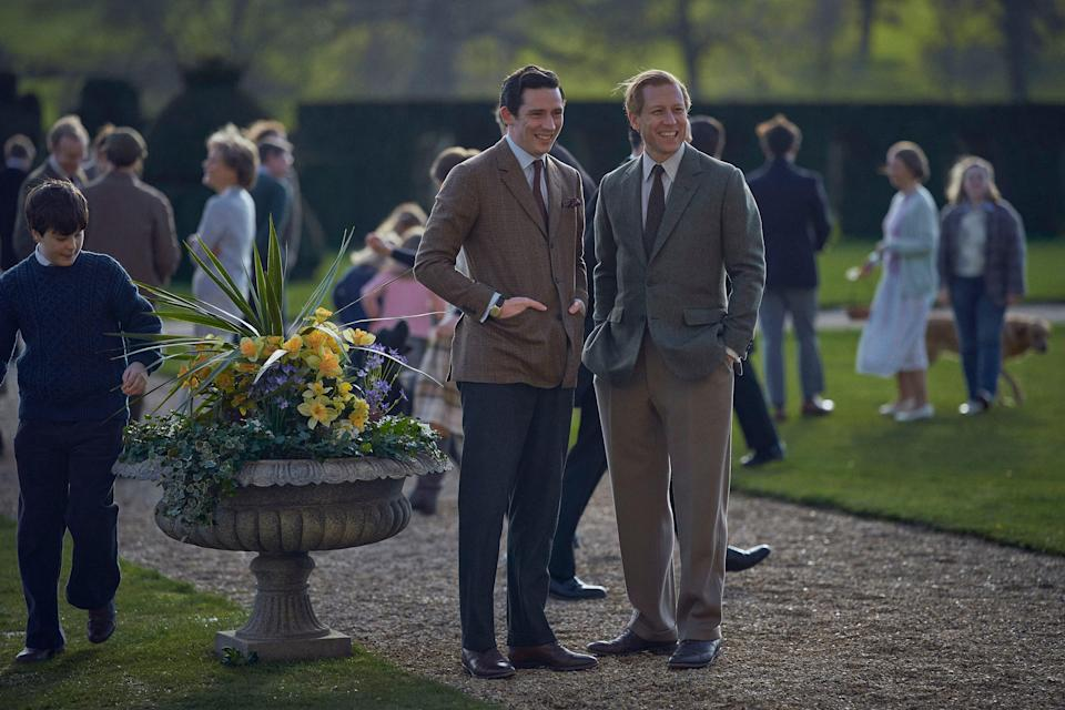 Josh O'Connor as Prince Charles and Tobias Menzies as Prince Philip in The Crown, Season 4.