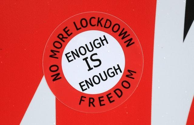 An anti-lockdown sticker in Nottingham city centre. More than three quarters of England's population is being ordered to stay at home to stop the spread of coronavirus