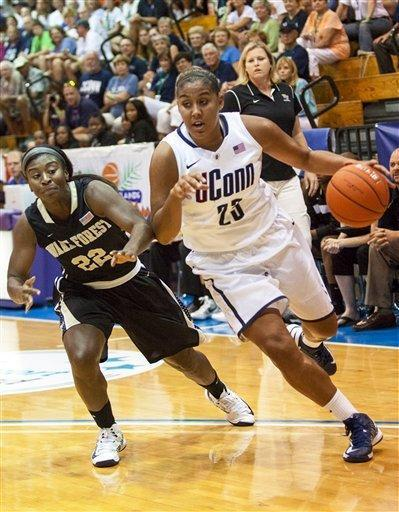 Connecticut's forward Kaleena Mosqueda-Lewis, right, dribbles around Wake Forrest's guard Lakevia Boykin during the first half of an NCAA women's college basketball game in St. Thomas, U.S. Virgin Islands, Thursday, Nov. 22, 2012. (AP Photo/Thomas Layer)