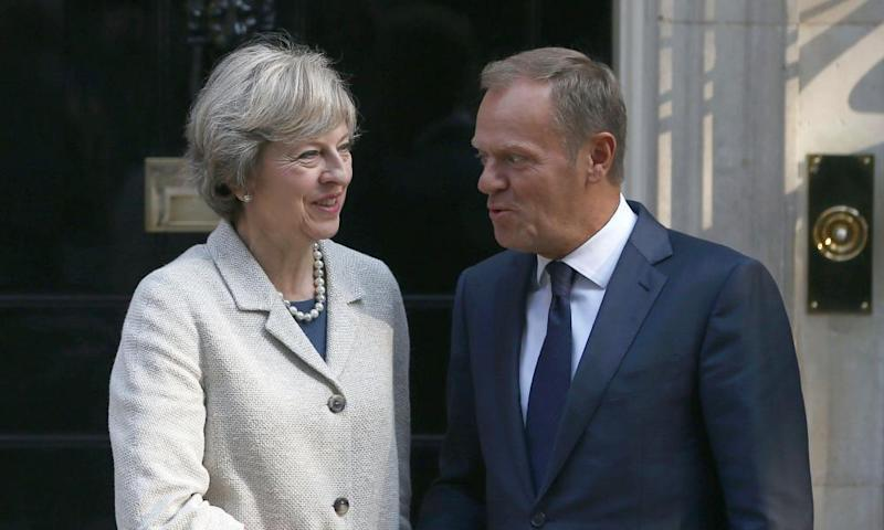 Theresa May (left) greets European council president Donald Tusk in Downing Street in September 2016