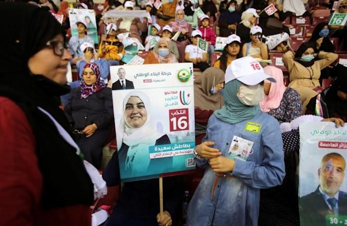 Supporters of Harakat al-Bina attend a campaign rally, ahead of the country's parliamentary election, in Algiers