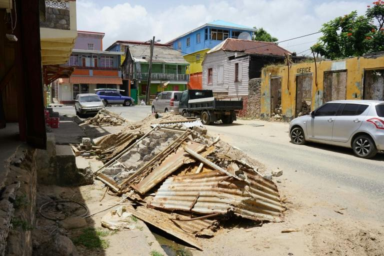 Debris awaits collection in Dominica's capital, Roseau