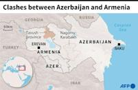 Map of Azerbaijan and Armenia locating the Armenian province of Tavush where border clashes have occurred
