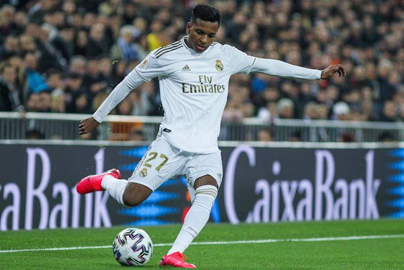 MADRID, SPAIN - FEBRUARY 06: Rodrygo Goes, of Real Madrid in action during Spanish Cup, Copa del Rey, football match played between Real Madrid and Real Sociedad at Santiago Bernabeu stadium on February 06, 2020 in Madrid, Spain. (Photo by Irina R. H. / AFP7 / Europa Press Sports via Getty Images)