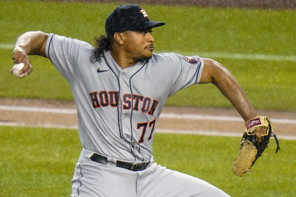 Houston Astros' Luis Garcia delivers a pitch during the first inning of a baseball game against the New York Yankees Wednesday, May 5, 2021, in New York. (AP Photo/Frank Franklin II)