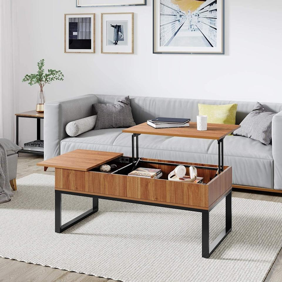 <p>The secret compartment in this <span>WLIVE Wood Lift Top Coffee Table</span> ($170) is so cool.</p>