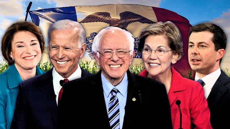 Sen. Amy Klobuchar, Joe Biden, Sen. Bernie Sanders, Sen. Elizabeth Warren and Mayor Pete Buttigieg. (Photo illustration: Yahoo News; photos: AP (5), Getty Images (2).