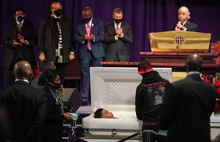 Rev Al Sharpton speaks to the family and community members at the public viewing service of Daunte Wright,