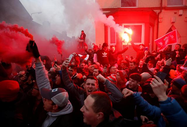 <p>Soccer Football – Champions League Quarter Final First Leg – Liverpool vs Manchester City – Anfield, Liverpool, Britain – April 4, 2018 Liverpool fans set off flares outside the stadium before the match Action Images via Reuters/Carl Recine </p>