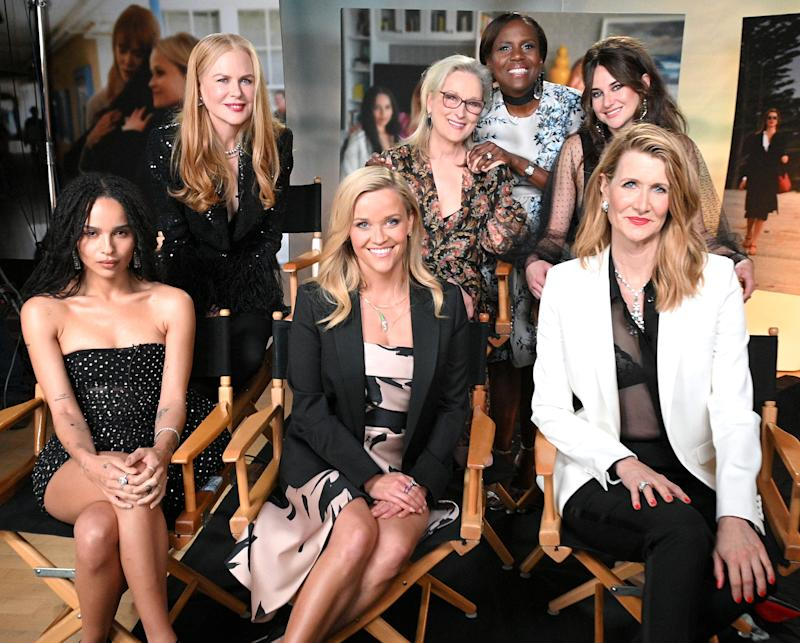 "GOOD MORNING AMERICA - 5/29/19 - Deborah Roberts interviews the cast of ""Big Little Lies"" on ""Good Morning America,"" airing Thursday, May 30, 2019 on Walt Disney Television via Getty Images. (Photo by Lorenzo Bevilaqua/Walt Disney Television via Getty Images) ZOE KRAVITZ, NICOLE KIDMAN, REESE WITHERSPOON, MERYL STREEP, DEBORAH ROBERTS, SHAILENE WOODLEY, LAURA DERN"