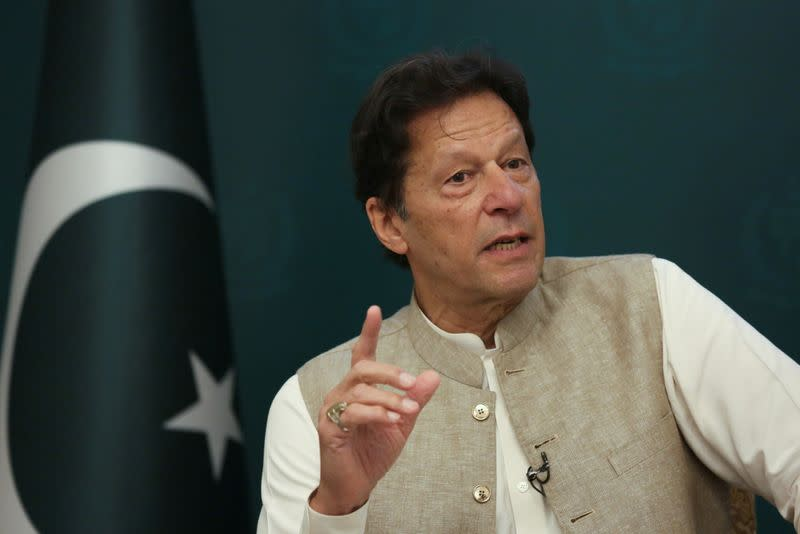 Pakistan's Prime Minister Imran Khan speaks during an interview with Reuters in Islamabad,
