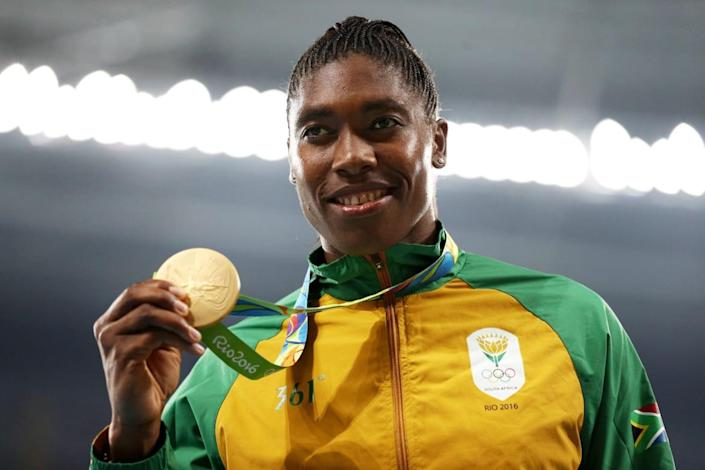 """<div class=""""inline-image__caption""""> <p>Caster Semenya shows off her gold medal at the Rio 2016 Olympic Games at the Olympic Stadium on August 20, 2016, in Rio de Janeiro, Brazil.</p> </div> <div class=""""inline-image__credit""""> Patrick Smith/Getty </div>"""